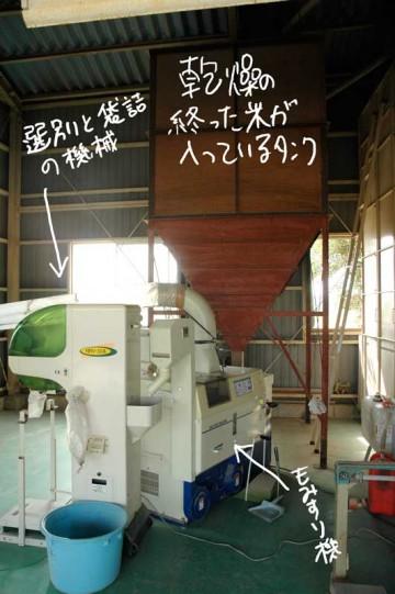 機械一式。タンクからもみ付きの米がもみ摺り機に入って、それが選別袋詰め機に繋がっています。