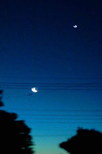 夜明け前の東の空、地面に近いほうから少しづつ色が変わってきました。右上が明けの明星、金星。左下が月です。(ぶれちゃってますけど)