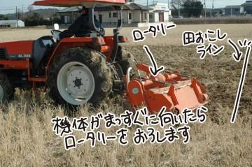 ターンが終わるか終わらないか。機体がまっすぐになる前くらいでハンドル脇のレバーをちょいと上げると、持ち上がっていたロータリーは下に降りて再び土を耕し始めます。