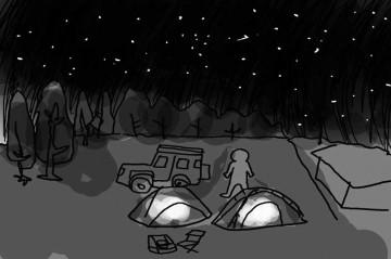 夜、運動場の駐車場にテントを張りました。普段だったら梢と空の境界が、ぼんやりと町の灯りで明るいのですが、この日はホントに真っ暗。寒空に降るような星です。テントの中のLEDだけが唯一の人工的なあかりです。