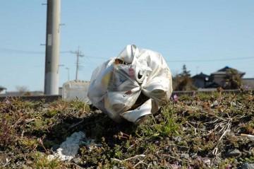 道路脇の田んぼに落ちているゴミです。こういうものは消えてなくならないので、困ってしまいますね。