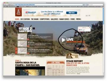 ラリーのWEBサイトに行って(http://www.dakar.com/index_DAKus.html)LIVEをクリックして