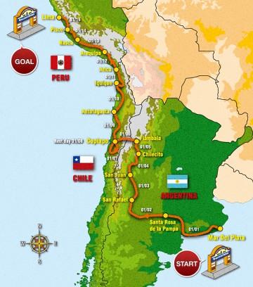 今年のダカールラリーのルート ダカールって名前がついてますけど、ステージは南米です。日本の反対側、今は夏ですね。