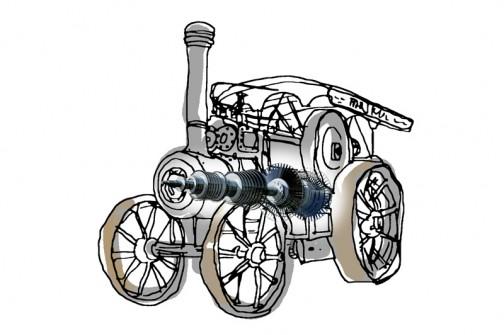 蒸気タービントラクター・・・こんなのどうでしょう?