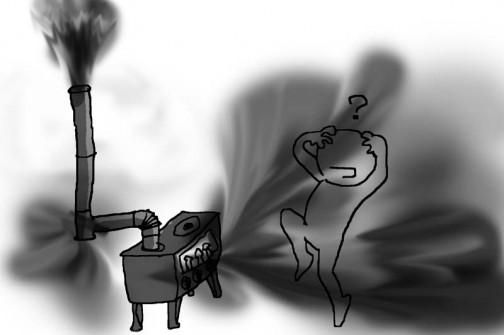トップを外してみると・・・お?なんだか煙臭いのがなくなってゆくぞ???