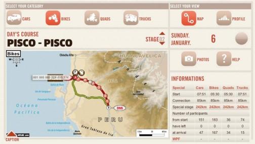 2日目はループのピスコスタートのピスコゴール。85キロの移動区間の後、242キロのスペシャルステージ