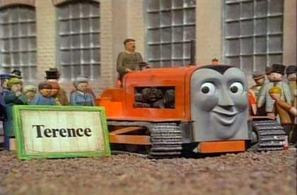 機関車トーマスのテレンス君 ちょっと大きい写真。キャタピラ付のクローラトラクターです