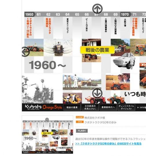 探しているとWEB制作会社が制作実績として、フラッシュでクボタトラクター年表を作ったと書いてある・・・これ見たい!
