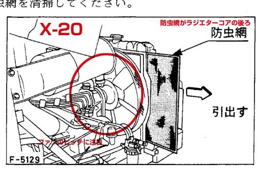 この図ですが、運転席側から見て防虫網がラジエターコアの後ろにあります。もし、前からフレッシュエアを吸入しているとすると、防虫網がラジエターコアの後ろにあっては、エアクリーナーに入る空気のゴミを取り除けますが、ラジエターのコアにゴミが詰まるのを防げません。それならばラジエターコアの前に防虫網をレイアウトするのがリーズナブルです。しかしそれをしていない。これは中から外に向かってファンで空気を送っていると考えてよいのではないでしょうか?