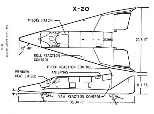 そしてXがつくのはスペースプレーンX-20 同じく60年代のもの・・・形もビミョーに似てるかなあ