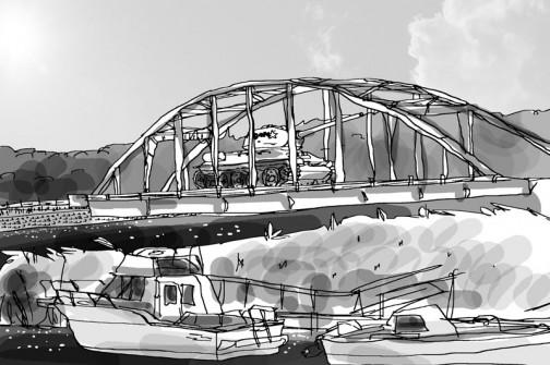 大場町島地区は涸沼川を挿んで大洗町と接しています。水戸より大洗のほうが近いので、買物など大洗へ行く人も多いです。ある日、ポストを開けたらビックリ! 絵でささっと表現すれば大貫橋を通って戦車が進攻してきた・・・そういうことです。
