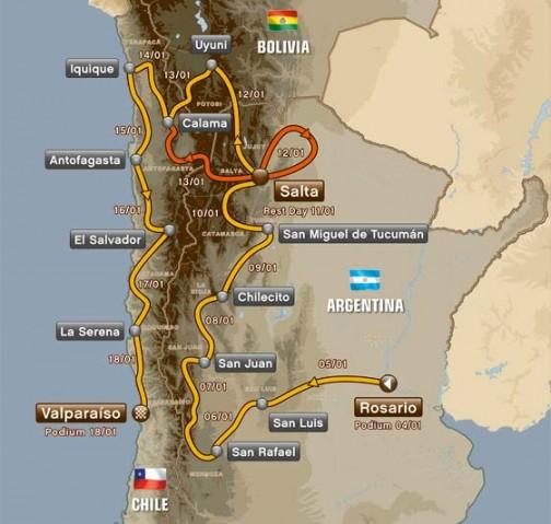来年は2014年1月5日から18日まで。アルゼンチンの大きな町、メッシのふるさとロサリオからスタート! ボリビアを通りチリのゴール。アタカマ砂漠はアフリカで言うモーリタニア砂漠みたいな位置付けになってきましたね!