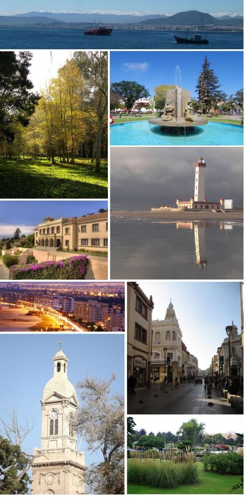 ラ・セレナの紹介写真コラージュだそうです。真ん中右の特徴的な塔は古い灯台らしく、調べていると至る所に出てきます。海の補給基地として生まれた都市故ですね。