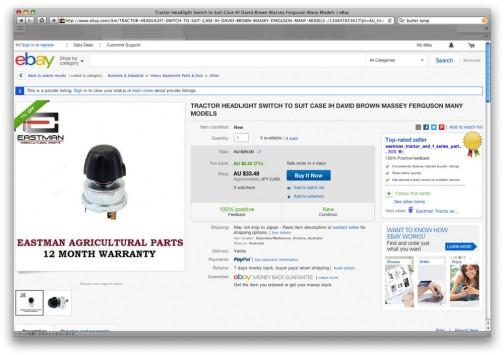 調べてみると気になる黒いのはヘッドライトスイッチ。今でもちゃんと新品売ってます。コピーでしょうけど・・・それにしても、操作物がそれぞれキャラが立っていて、主張してますよねえ・・・