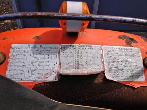クボタL1501 痛んだフェンダーに注意書きがいっぱい。ミッションの組み合せ表みたいです。