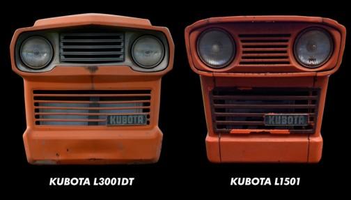 クボタL3001DTとクボタL1501、お顔比較。すごく印象が似てるのに、並べてみるとずいぶん違うことがわかります。ふくよか社長顔とうらなりのナス顔。