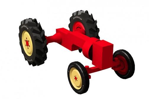 ポルシェトラクターのペーパーモデルを作るのだ! こんな風に繋げば違和感なくボディを載せられるはず。