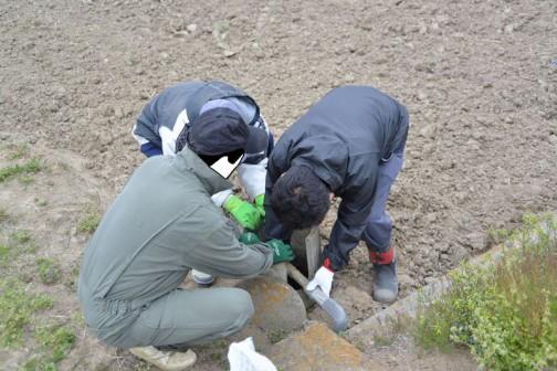 昨日は今年度最初の環境保全会の活動でした。  「施設の適正管理」ということで、まずは冬の間、蛇口の盗難を避けるため、取り外していたパイプライン端末の取付と側溝の泥上げです。