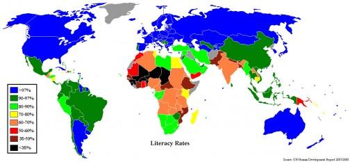 ウィキペディアに載っていた識字率による世界地図 (2007/2008 人間開発レポート) 灰色 = 資料なし これによれば、メキシコは87位で93.4%。低いってほどでもない感じが・・・ちなみに、トップはキューバ。日本は23位です。