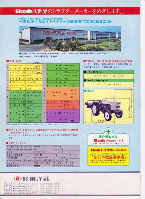 HINOMOTO E25 TRACTOR CATALOG 日の本トラクター ベストE25 カタログ