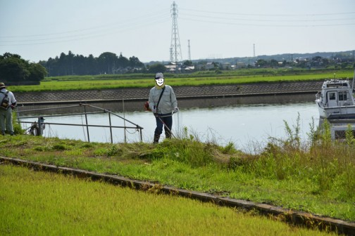 まずは石川川の河川敷の草刈です