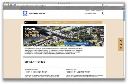 なんだかエンジニアリング会社というよりはコンサルティング会社みたいなZFのWEBサイト。