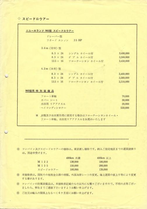 クレイソン社のライスコンバインM122/M135の価格表