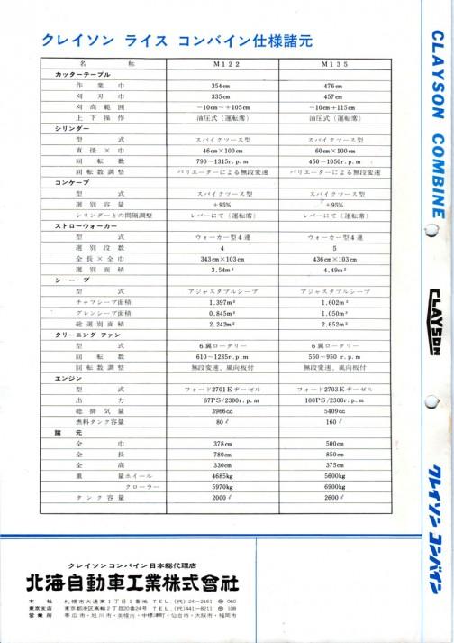 Clayson Combine M122/M135 catalog 北海自動車クレイソンコンバインM122/M135のカタログ