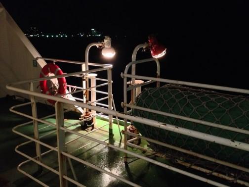 しかし、今年苫小牧から深夜便でかえってくると・・・(大洗の港の明かりが向こうに見えています)