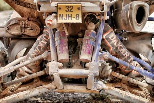 クワド(四輪バギー)のケツ。土器みたいになっちゃってます。ガソリン的にも体力的にもきついクワドのパイロットはみんなタフガイ。