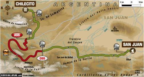 サンフアン→チレシート間は移動長めのSS短かめ。スペシャルは220km、移動は前後合わせて437km、トータル657km(単車の場合)となってます。