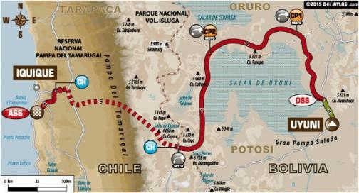 四輪はウユニをスタートし、イキケへ戻るマラソンステージ2日目。