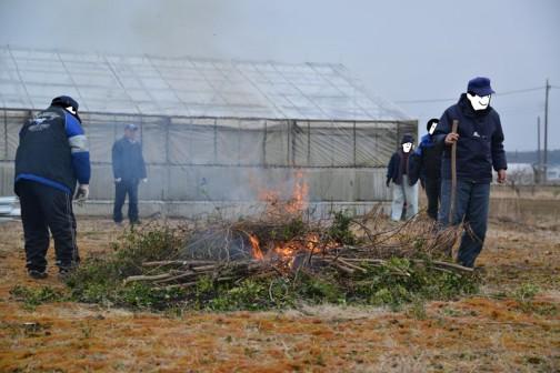 払った枝や木はこうやって燃してしまいます。生木って燃えるんですね。