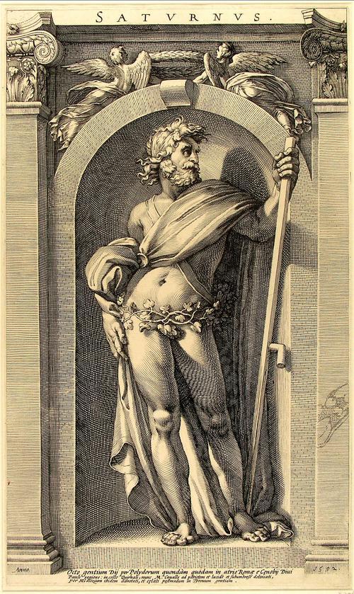 ウィキペディアより。サートゥルヌス(Sāturnus)は、ローマ神話に登場する農耕神。英語ではサターン。ギリシア神話のクロノスと同一視され、土星の守護神ともされる。妻はオプス、あるいはレアーとされる。