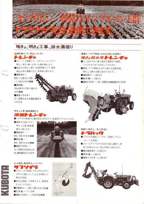 「昔のカタログ」シリーズ、1978年(昭和53年)クボタクボタトラクタインプルメント(土づくり編)カタログです。 今日は何となく昔のカタログの「フォント」を気にしながら見ていきます。