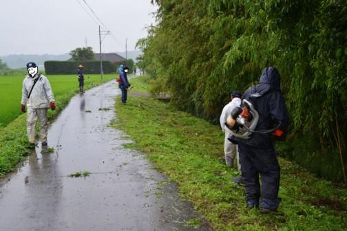7月5日、雨の中の水路の草刈りの様子。