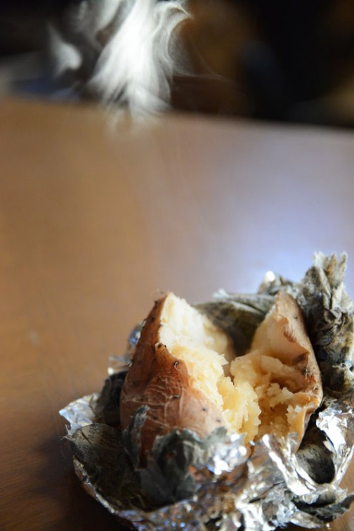 ほかほかです。醤油をつけて食べてみました。ジャガイモに少し長芋を混ぜた感じ。粘る感じはありません。今ひとつ物足りない感じ・・・