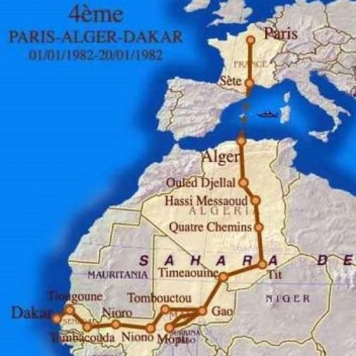 1982年当時のコースを見てみると、ラリーはマリから直接セネガルに入っていますから、アランさんがマリ出身だとすれば、コートジボワールの北といっても相当北ですよねえ・・・