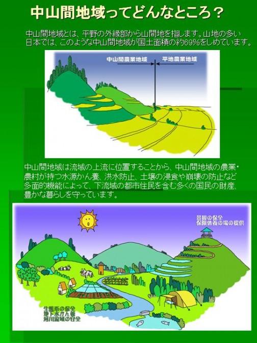 栃木県のサイトに分かりやすい絵がありました。これを見ると平野以外全部中山間地域です。となると膨大な面積になりそうですね。