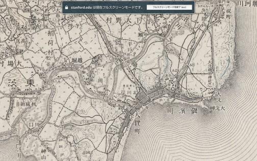大洗のほうを見てみます。水浜(すいひん)電車というのが走っていたんですね!結構細かく駅があるなあ・・・今の地図だとどうなるんだろう。