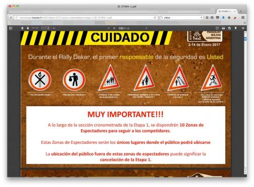 パラグアイのDAY1のルート(全部読んだわけではないのであくまでも印象)SSの6.9km地点から36.8km地点までの計10カ所の観戦ポイントというか危険地帯をガイドしています。