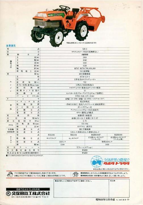 XB1カスタムタイプ(車高可変機構なし)D750-LD1水冷3気筒立形4サイクルディーゼル762cc 12馬力/2600rpm