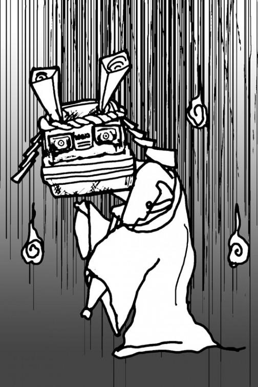時間がかかった割にはイメージ通りに書けなかったけど、八つ墓村か幽霊かという感じ・・・もう、ただただこれがやりたかっただけ。