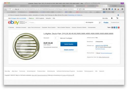 55.9ユーロで売られています。123/ユーロとして6875円。直径は10センチほどだから1㎠あたり88円。なぜかグリッドが横向き。