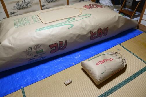 正規の米袋とカート、そして会場で配るつもりのミニチュア米袋との比較。