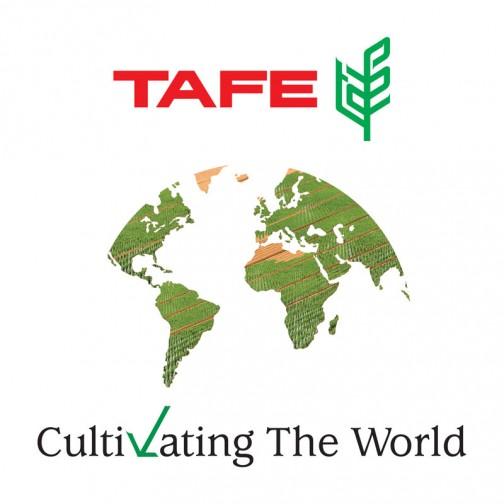これがTAFEのロゴ。インドの会社だからインドが真ん中に来るかと思ったら、そうじゃないんですね。TAFEワールドロゴ・・・とあるのでそういうわけにも行かないのか・・・これを見ると世界の中心はヨーロッパだということがわかります。