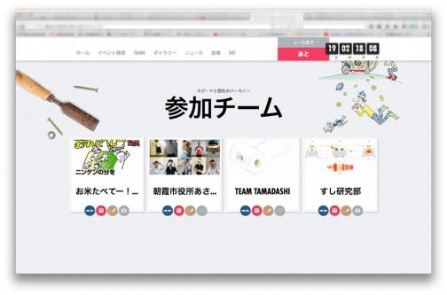 レッドブルボックスカートレースのサイト(http://www.redbullsoapboxrace.com/jp/ja/)に行って、下のほうにスクロールしていくと参加チームが並んでいます。「お米たべてー!TEAM」のボックスの上にオンマウスすると・・・・
