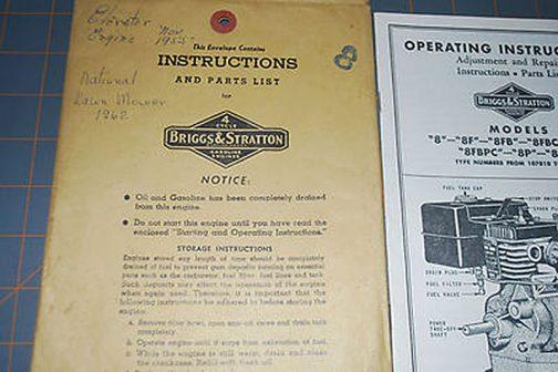 更に調べてみます。1955年、ブリッグス&ストラットンのモデル8、取説です。ちょうどメリーティラーに載っていた頃のものですね!