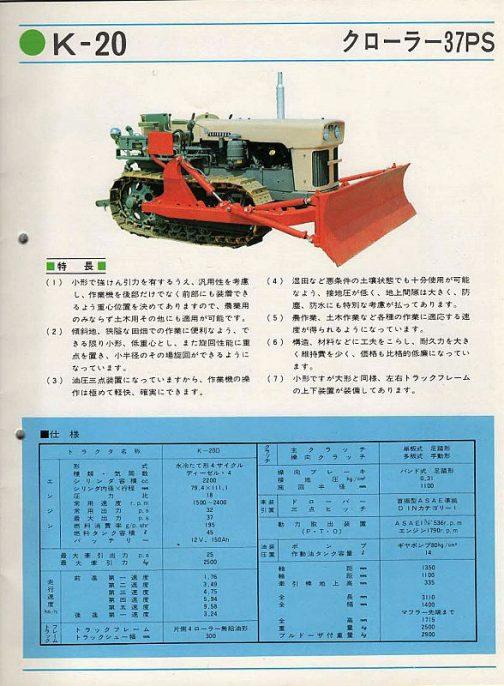 シバウラK-20。このカタログで一番驚いたのは、シバウラがフルクローラーのトラクターを作っていたということです。