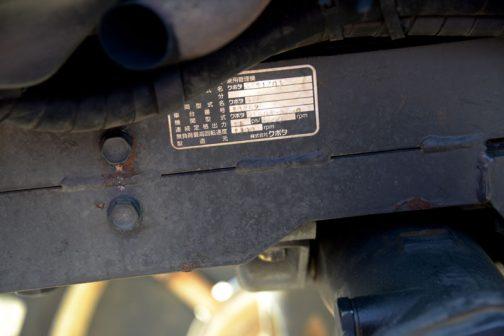 ちょっとわかりにくいですが、銘板にはクボタ乗用管理機と書いてあるんです。